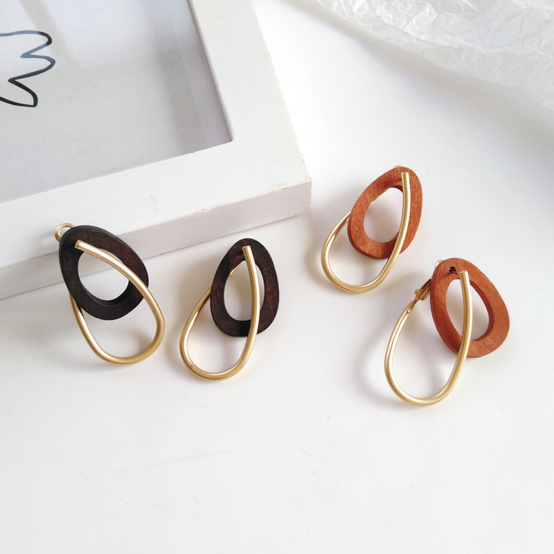 Fashion Drop Earrings Jewelry Mori Girls Korean Alloy Wood Earrings
