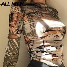 ALLNeon-Crop Tops de manga larga con estampado Vintage para chica, camisetas ajustadas fruncidas con cuello redondo Harajuku, ropa urbana de otoño, camisetas Y2K