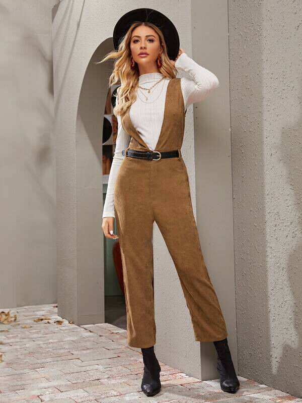 2019 Elegant Women Autumn Long Overall Suit Any Clothing Streetwear Lady New Fashion Corduroy Warm Brown Long Pant Plus Size