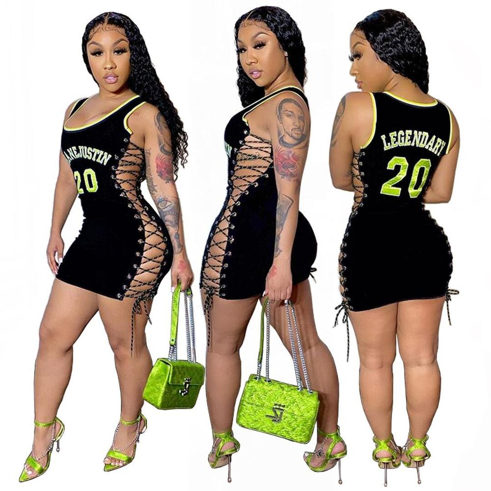 Letter Print Casual Women Dress Sleeveless O Neck Hollow Out Lace Up Empire Summer Streetwear Sheath Lady Mini Dress
