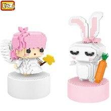 LOZ Mini  Building Blocks Educational Juguetes LOVE Rabbit Angel LOZ Music Box Girls Toys for Valentine Xmas Birthday Girl Gifts
