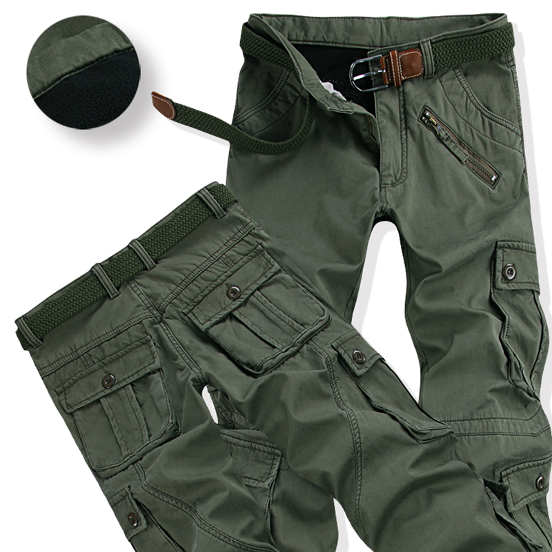 Men's Winter Thick Warm Cargo Pants Casual Fleece Pockets Long Trouser Fashion Loose Baggy Jogger Worker Male Plus Size 40