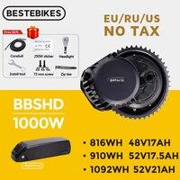 Bafang-Motor de tracción media BBSHD BBS03, 48V, 52V, 1000W, Kit de conversión de bicicleta eléctrica, BBS03, 52V17.5AH, 20AH, batería