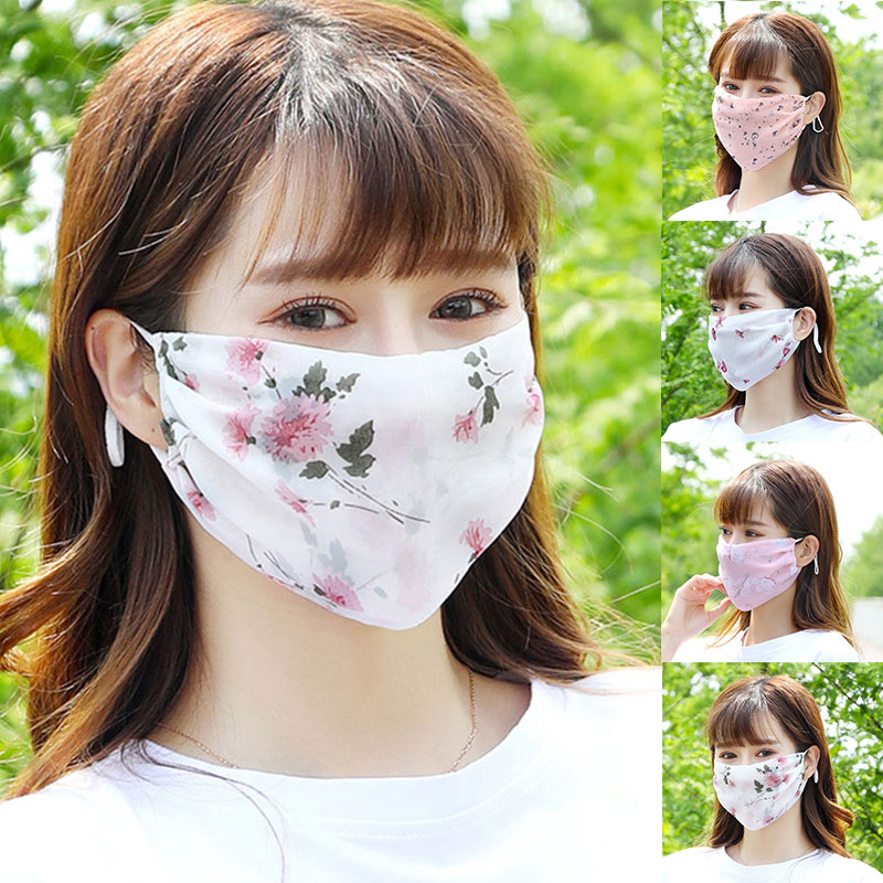 Women's Summer Flower Print Mouth Mask Silk Mesh Mask Female Sunscreen Brethable Mouth Muffle Washable Floral Mouth Masks