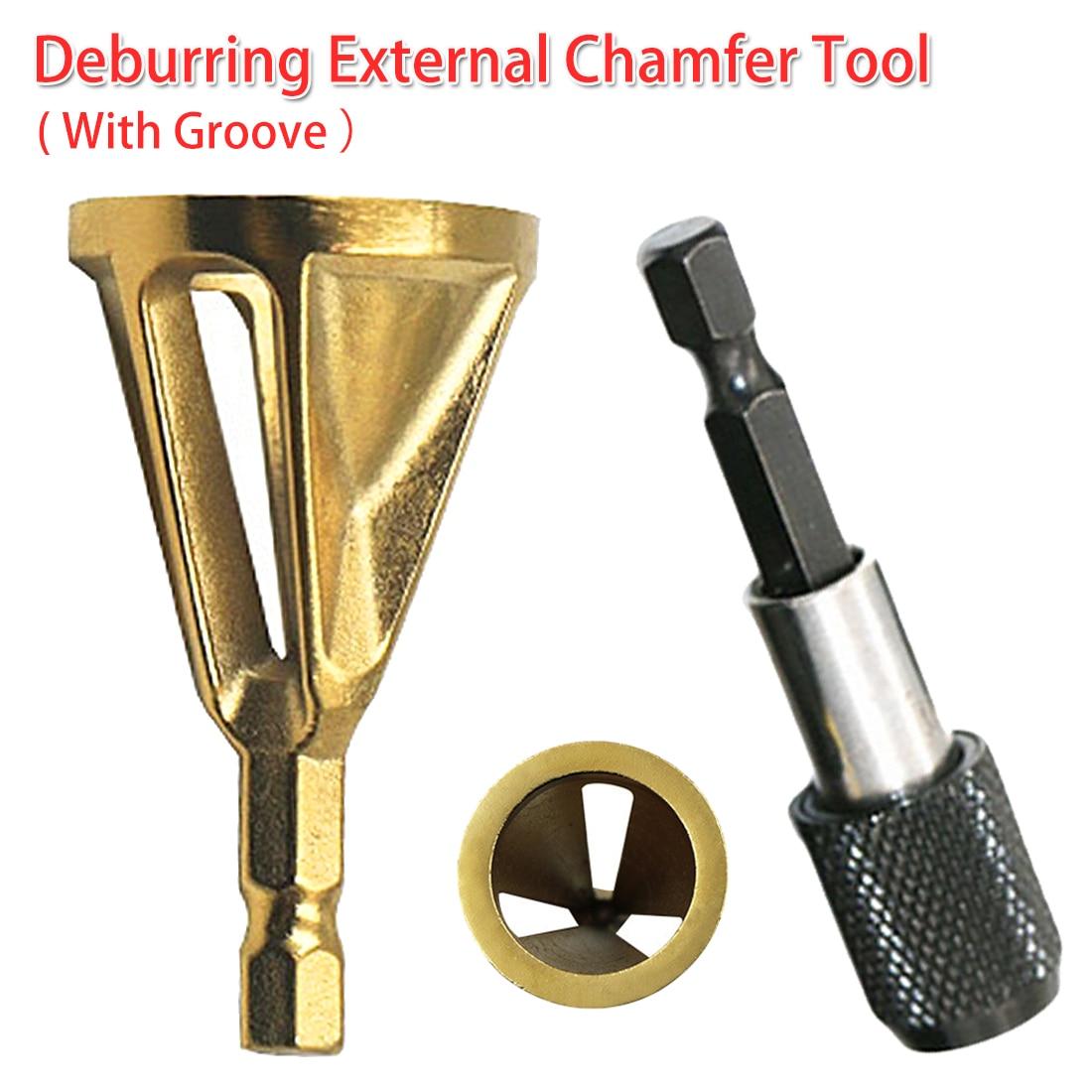 Deburring External Chamfer Tool Drill Bit 4-19mm Work Range Stainless Steel Remove Burr 1/4 Shank For Copper/ Wood/ Plastic