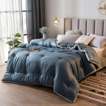Pure Color Style Warm And Thicken Duvet 100% Washed Cotton Soft Quilt 220*240cm Home Bedding High Grade Winter Comforter