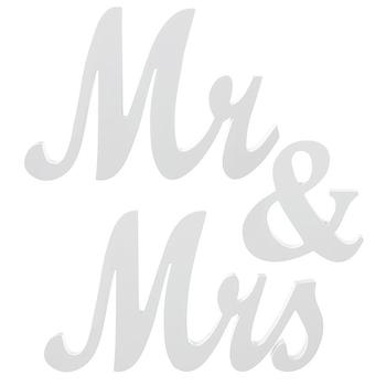 3 sztuk zestaw dekoracje ślubne pan i pani drewniane litery elementy wyposażenia domu ślub projekt znak stół weselny elegancki Top stół znak tanie i dobre opinie CN (pochodzenie) Drewna