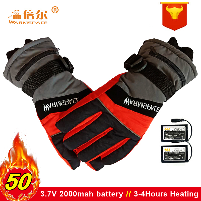 Warmspace Winter USB Rechargeable Electric Thermal Gloves Man And Woman 3.7V Battery Heated Gloves Cycling  Bicycle Ski Gloves