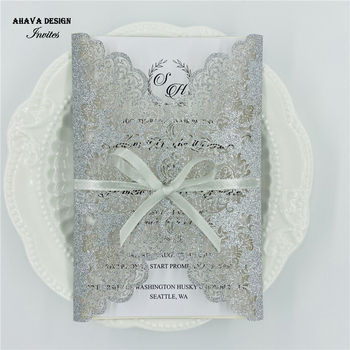 Glitter Silver Laser Cut Lace Invitations With Bowtie, Customized Wedding Invite
