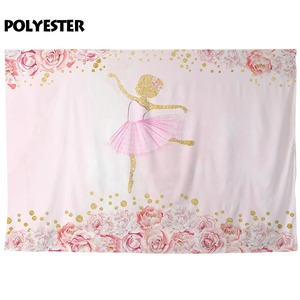 Image 3 - Allenjoy Flowers Ballet Girl Photography Backdrop Pink Birthday Baby Shower Newborn Backgrounds for Photo Photophone