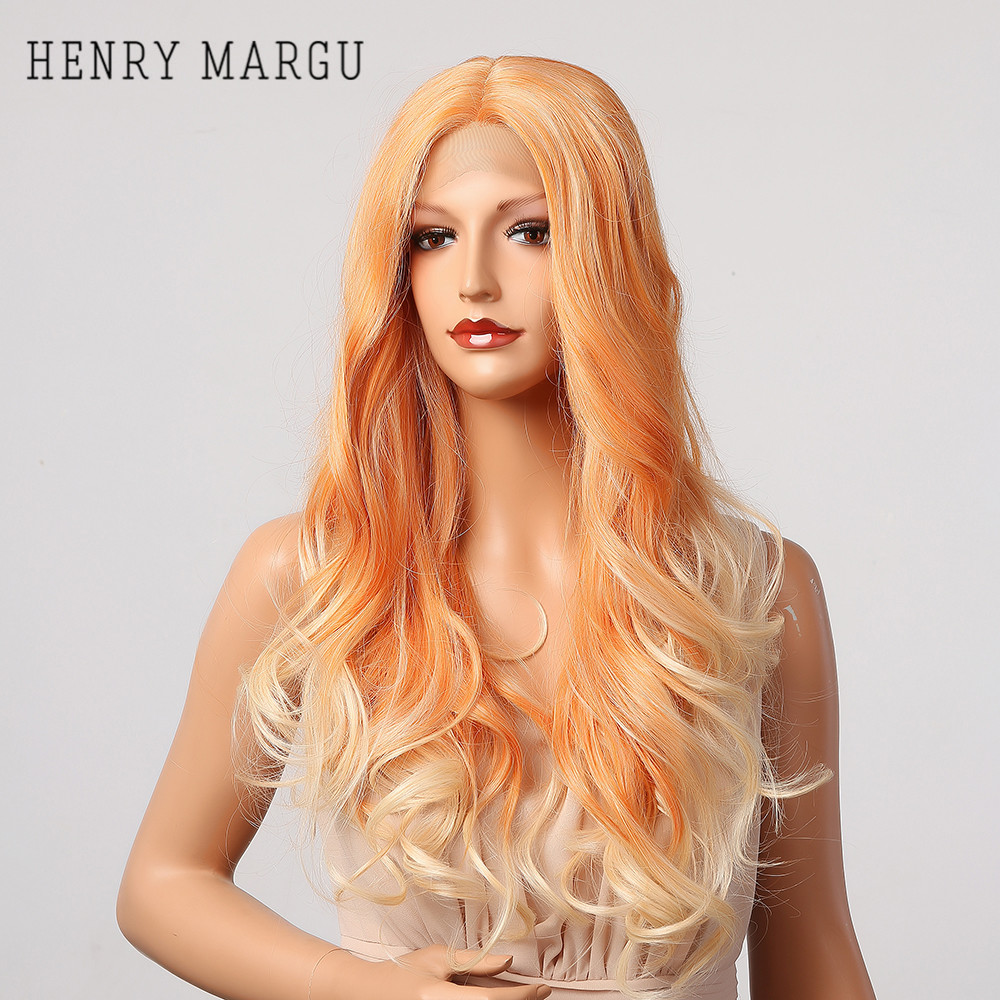 HENRY MARGU Black Blonde White Ombre Wave Lace Wigs Long Deep Wave Wigs Natural Synthetic Hair Cosplay Daily Lace Wig For Women