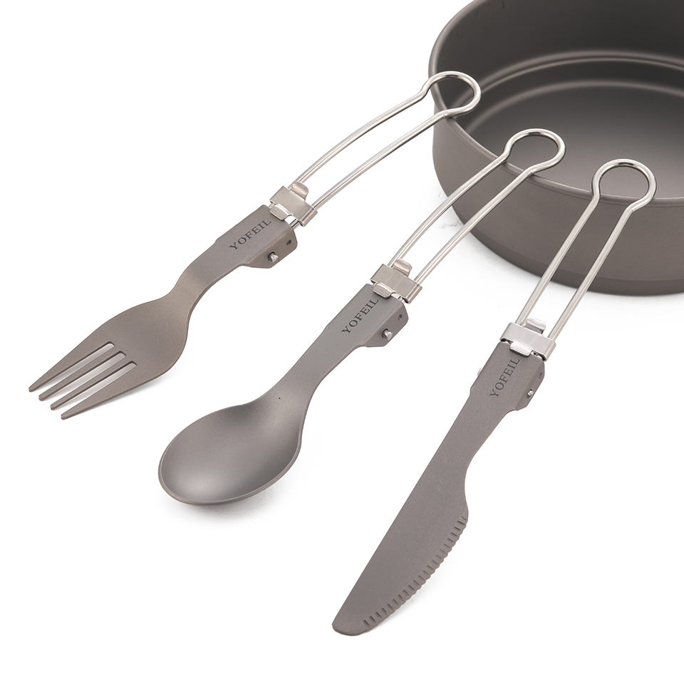 High quality titanium alloy folding knife and fork spoon ultra light pure titanium outdoor camping tableware picnic equipment(China)