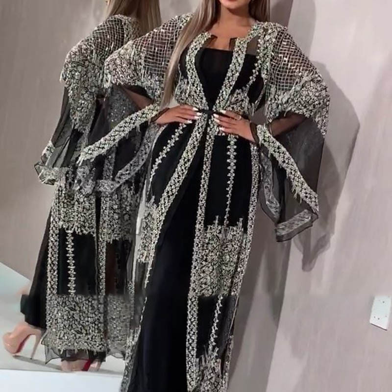 Luxury Muslim Mesh Abaya Dress Cardigan Sequins Kimono Long Robe Gowns Jubah Vestidos Sexy Party Middle East Eid Ramadan Islamic