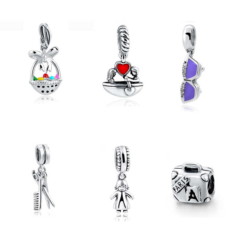 Fit Authentic Pandora Bracelet Charms Silver 925 Original DIY Red Enamel Charms Antique Beads Pendant Jewelry Women gift