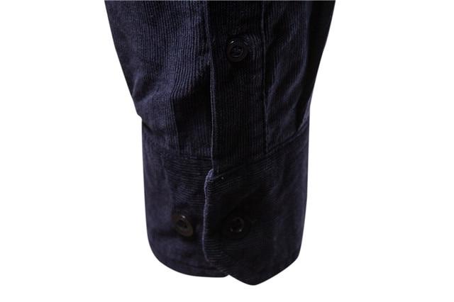 2020 New Single Breasted 100% Cotton Men's Shirt Business Casual Fashion Solid Color Corduroy Men Shirts Autumn Slim Shirt Men 6