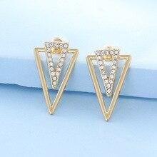 Doreen Box Wedding Banquet Shines Earrings Jewelry Geometric Triangle Clear Rhinestone Stud Earrings Elegant Jewelry ,1 Pair цены онлайн