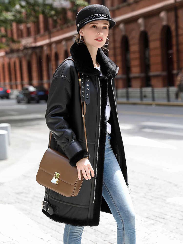 女性のジャケットの冬本物の革のジャケット女性ナチュラル毛皮のコート女性のシープスキンのコートストリートボンバージャケット私のs