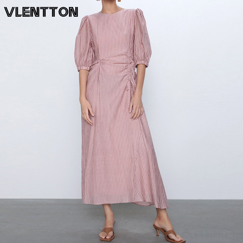 2020 Spring Summer Pink Vintage Plaid Maxi Dress For Women O-Neck Asymmetric Pleated Slim Long Party Dresses Ladies Vestidos