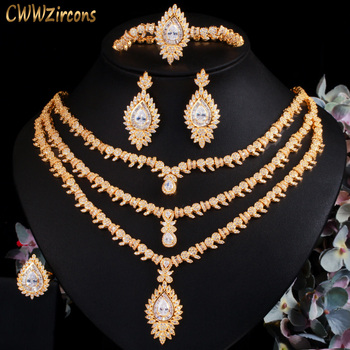 CWWZircons 4 Pcs Cubic Zirconia Pave African Dubai Gold Color Big Necklace Luxury Women Jewelry Set Wedding Accessories T510