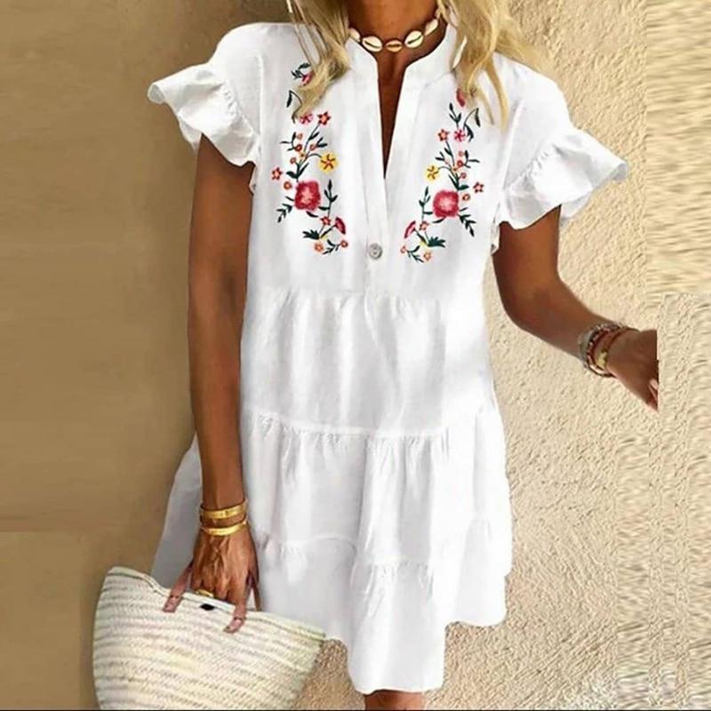 Vintage Floral Print Dress Elegant Women Tassel A-Line Dress Half Sleeve Button Mini Dress Lady Casual Loose Short Dress Vestido 6