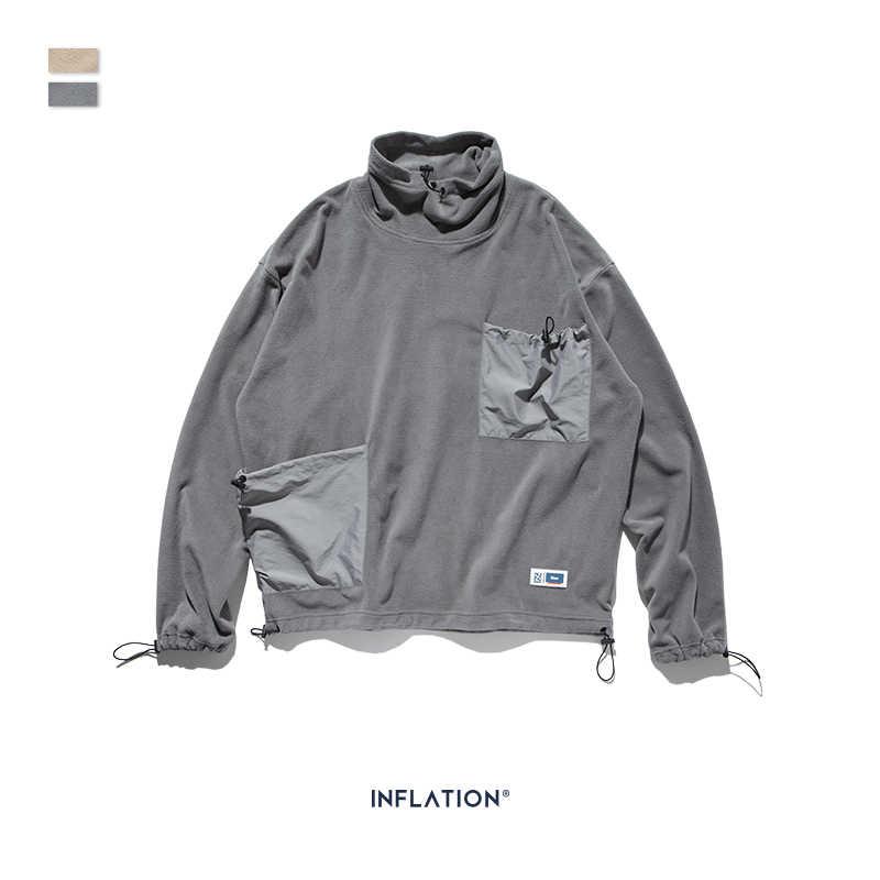 Şişirme tasarım erkekler kazak kazak yüksek yaka polar bırakılan omuzlar erkek kazak ile cep kontrast renk 9675W