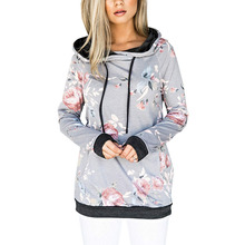 NORMOV Women Print bluza z kapturem jesienno-zimowa Plus rozmiar bluza z długim rękawem bluza z kieszenią bluza damska bluza z kapturem tanie tanio Poliester Elastan Swetry Bluzy 400g Drukuj Na co dzień REGULAR Suknem Pełna Women Sweatshirt Kobiety