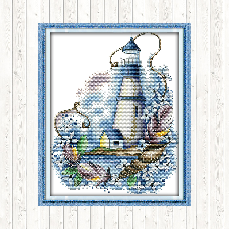 Count Cross Stitch Blue Lighthouse Aida Fabric for Embroidery Kit 14CT DMC Cotton Thread Printed Canvas Water soluble Needlework