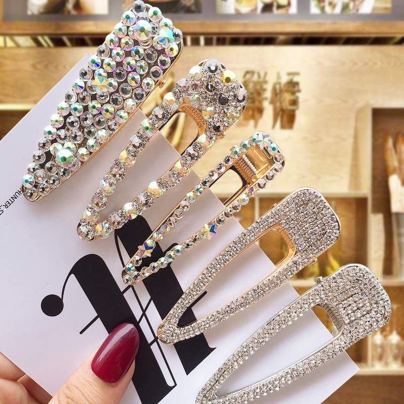 1 Set Shiny Full Crystal Hairpins Woman Rhinestone Crystal Pearl Cute BB Clips Sweet Hair Clip For Women Hair Accessories