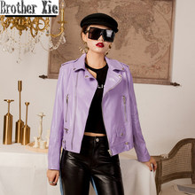 Purple Motorcycle Leather Jacket Office Lady Genuine Sheepskin Real Leather Coat Women Streetwear Fashion Autumn Clothes Female(China)