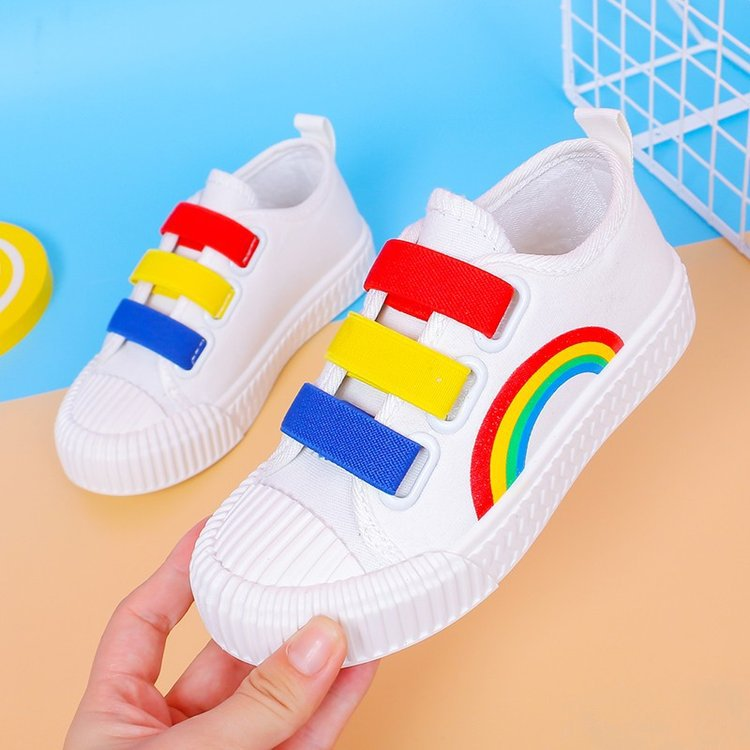 2020 Spring New Fashion Children Canvas Shoes Casual Rainbow Girls Cloth Shoes Wild Soft Bottom Boys Running Shoes Baby Sneakers