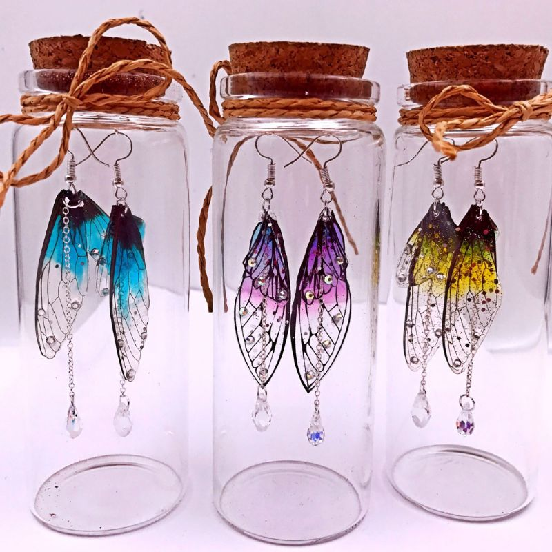 Handmade Fairy Simulated Dragonfly Cicada Vivid Wings Material Pendant Earrings Insect Butterflies Wings Jewelry Making