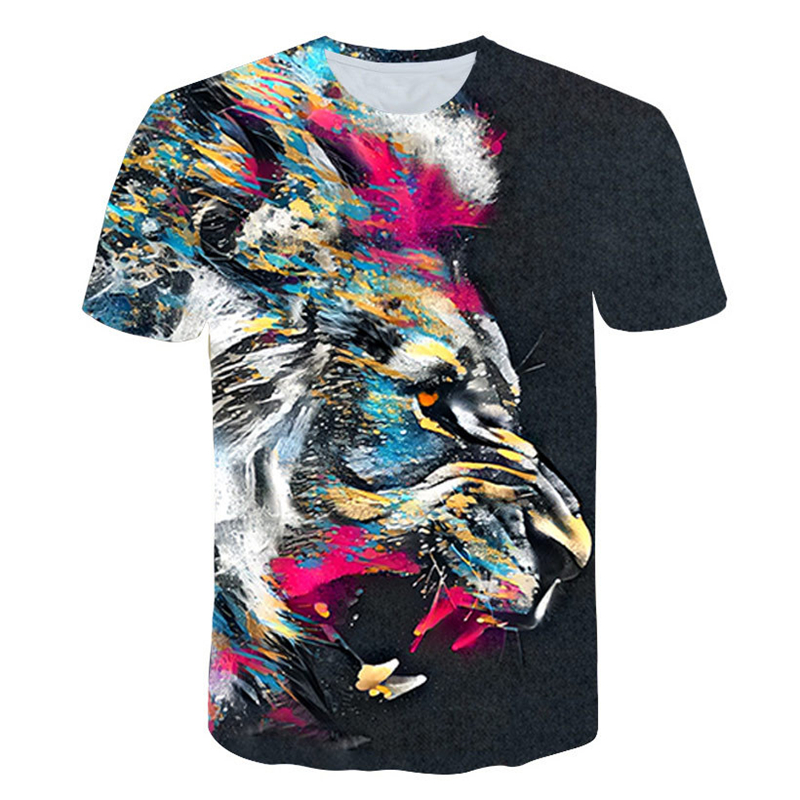 New Summer Lion 3D Men's Tshirt Fashion Animal Print T-Shirt Male Casual Short-Sleeve Tee Shirt 3D Lion T Shirt