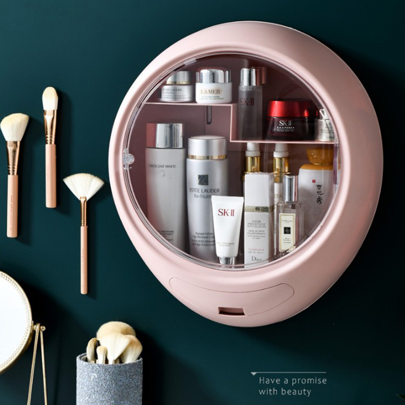 Wall-mounted Cosmetic Storage Box Jewelry Make Up Organizer Drawer Rack Bathroom Accessorie Racks Are Not Perforated Waterproof