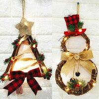 Нежный Рождественский светодиодный венок, подвесные украшения, Рождественский настенный кулон-венок, декоративный светильник для украшен...