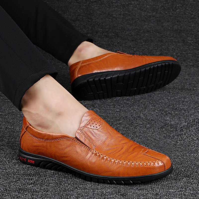 Men Genuine Leather casual Shoes fashion Soft Slip-On Sneakers Male Comfortable Driving Shoes Loafers Shoes Men big size 47