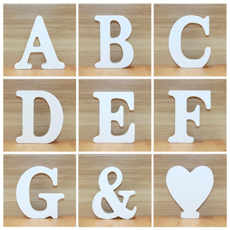 Деревянные буквы белого алфавита 10 см, 1 шт., для свадьбы, дня рождения, вечеринки, домашние украшения «сделай сам», индивидуальный дизайн име...