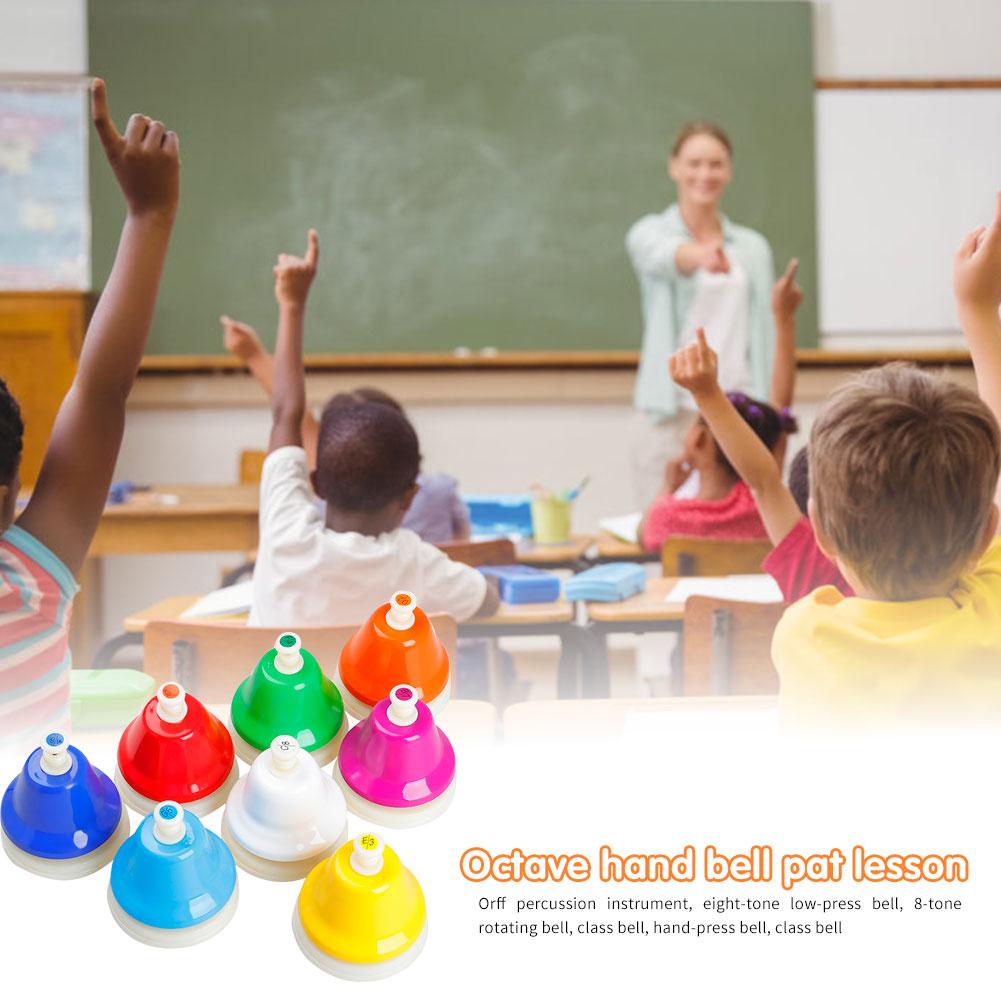 8 notas colorido mão sino elementos de