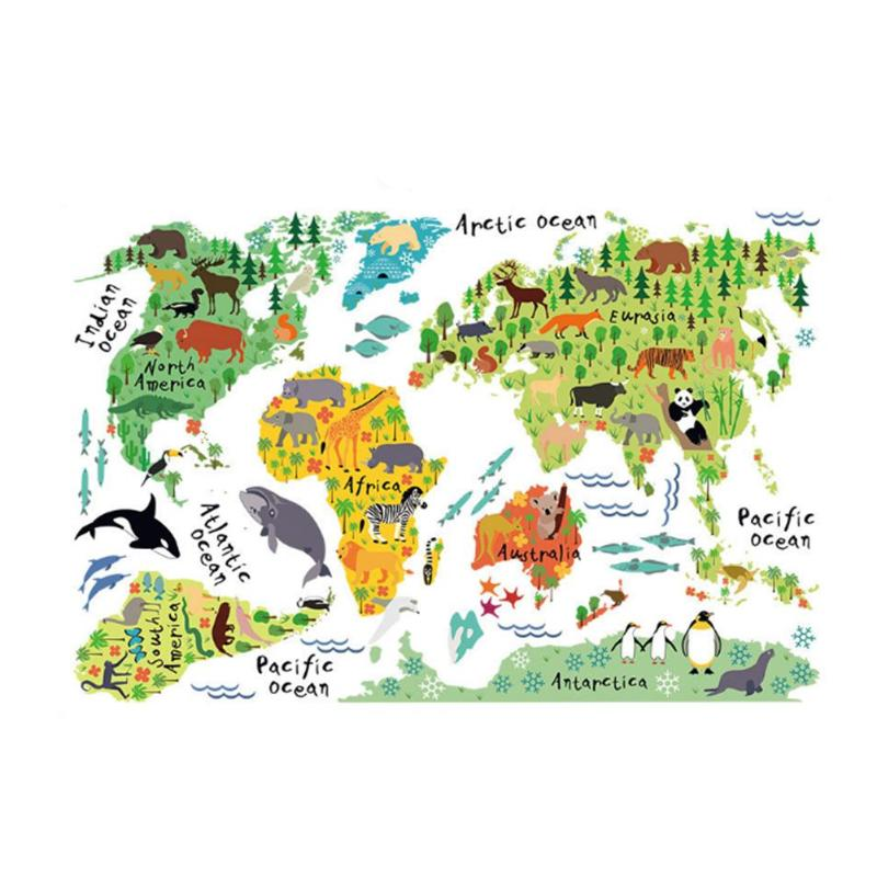 Colorful Animal World Map Sticker Kids Home Decor DIY Room Wall Art Poster