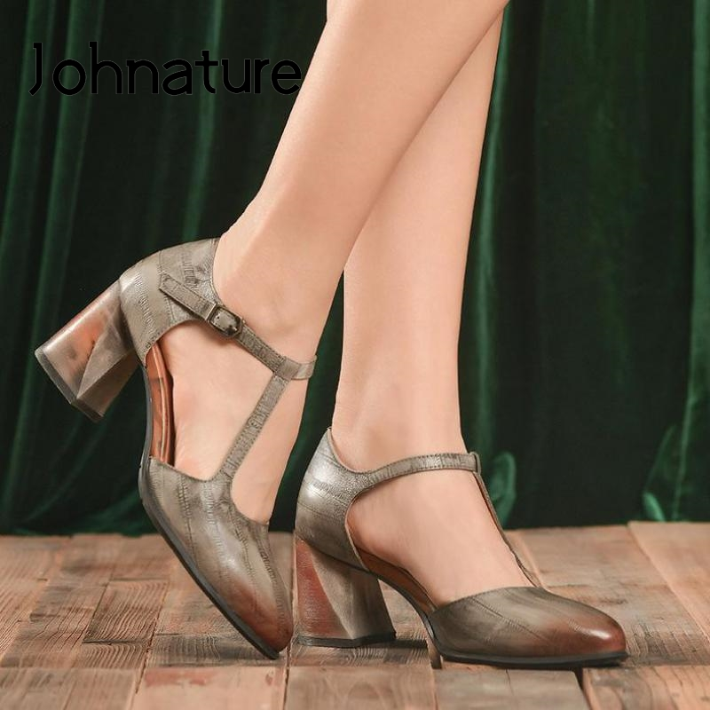 Johnature Genuine Leather 2020 New Spring Retro High Heels Sandals Women Shoes Print Buckle Strap Shallow Casual Ladies Sandals