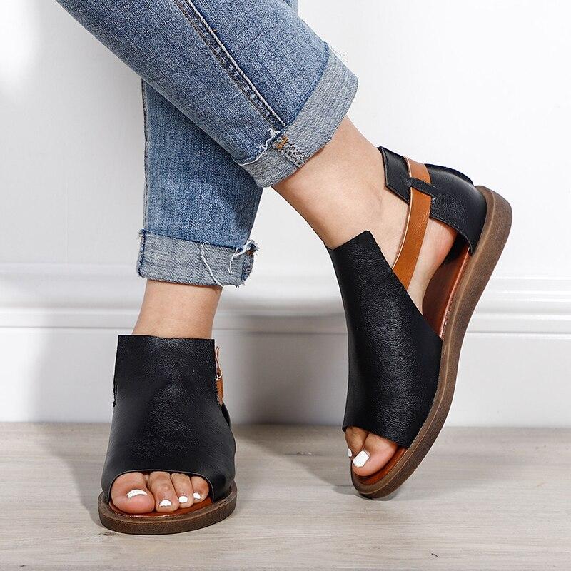 Women Flat Peep Toe Sandals Hook Loop Gladiator Summer Ladies Fashion Open Toe  Rome Shoes Female Casual  Style New Plus Size
