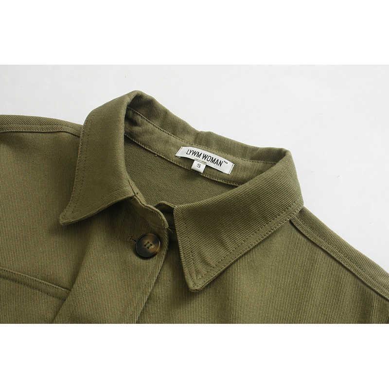 Za 2019 コートやジャケット女性アーミーグリーンツーリングポケット decoraction デニムジャケットの女性サッシサファリスタイル