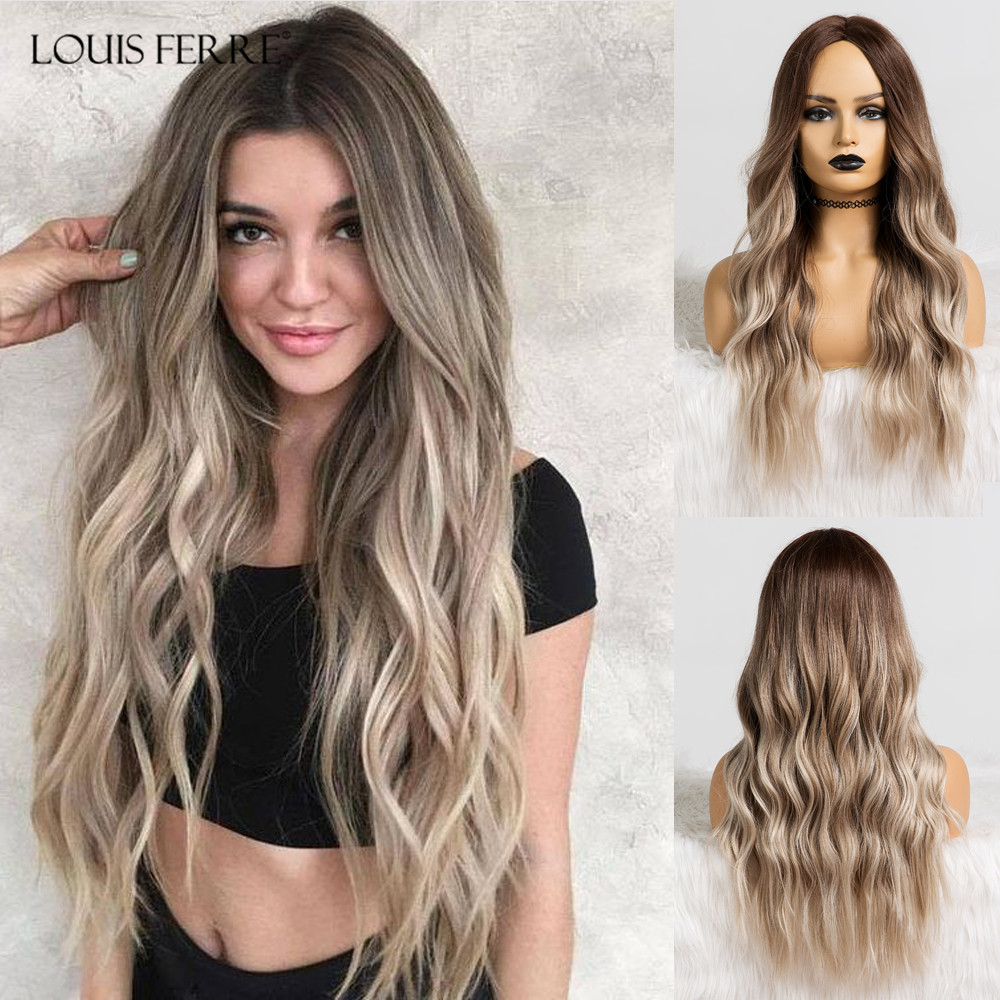 LOUIS FERRE Long Wavy Ombre Black Light Ash Brown Gray Wigs Middle Part Cosplay Synthetic Wig For Women Heat Resistant Fibre