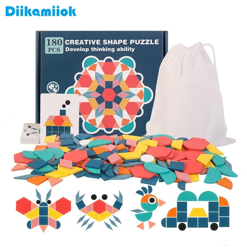 Novas crianças de madeira 3d quebra-cabeça placa inteligente bebê montessori educacional aprendizagem brinquedos para crianças forma geométrica quebra-cabeças brinquedo 1
