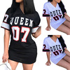 T Shirt Dress Women Short Dress Hip Hop Queen Printed Long T Shirt Loose V Neck Sexy Mini Dress Robe Camiseta Vestidos платье 1