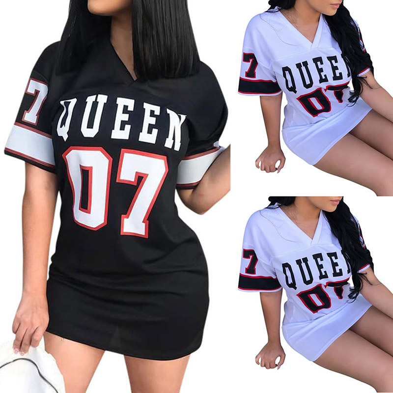 T Shirt Dress Women Short Dress Hip Hop Queen Printed Long T Shirt Loose V Neck Sexy Mini Dress Robe Camiseta Vestidos платье