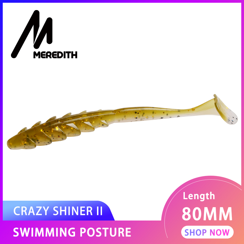 MEREDITH 12pcs Crazy Shiner II Fishing Lure Soft Lure Shad Silicone Baits 80mm T-tail Wobblers Swimbait Artificial leurre souple