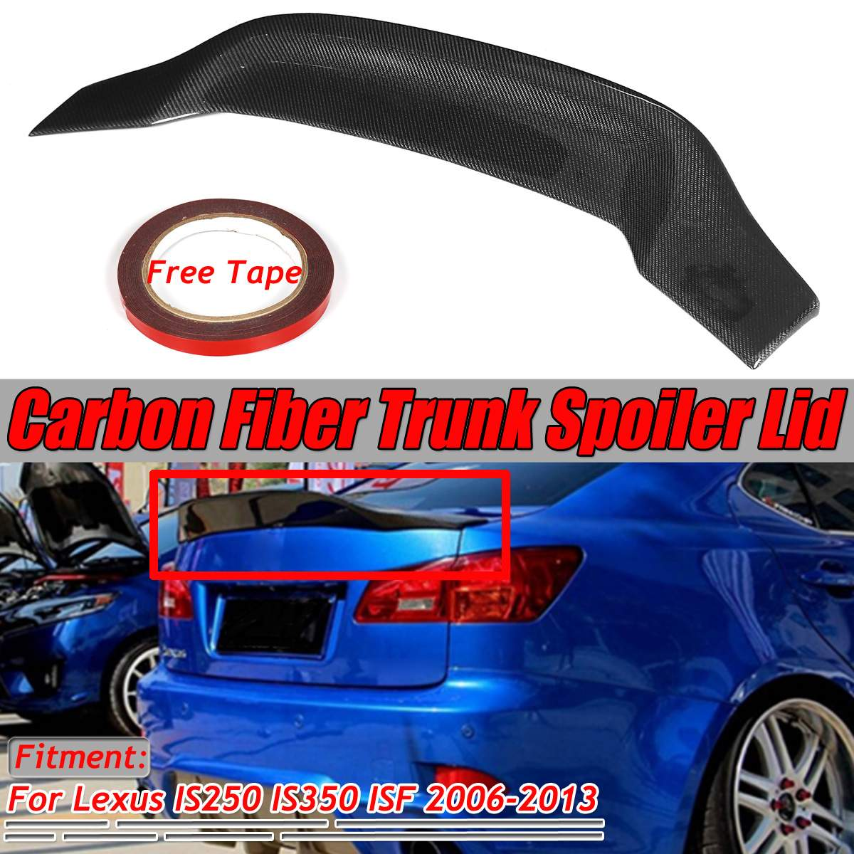 Pico de pato patada alta de fibra de carbono Real trasera de coche alerón para maletero Spoiler ala tapa para Lexus IS250 IS350 ISF 2006-2013 ala trasera