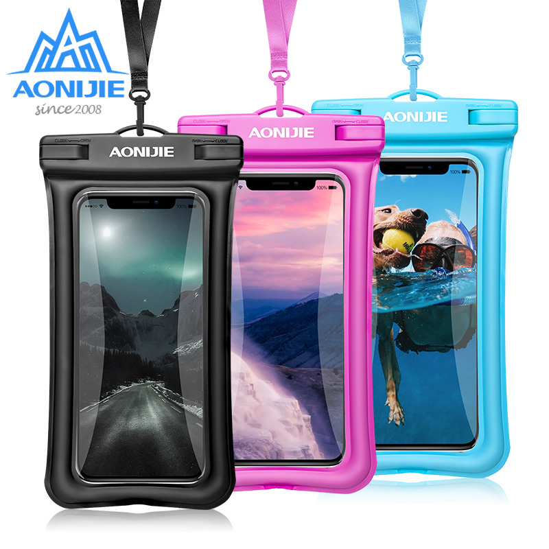 AONIJIE  Floatable Waterproof Phone Case Dry Bag Cover Mobile Phone Pouch For River Trekking Swimming Beach Diving Drifting