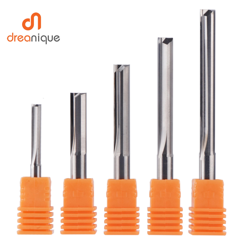 Dreanique 3.175mm 4mm 6mm 8mm Shank 2 Flute Tungsten Carbide End Mill CNC Router Bit Engraving Bit Straight Slot Milling Cutter