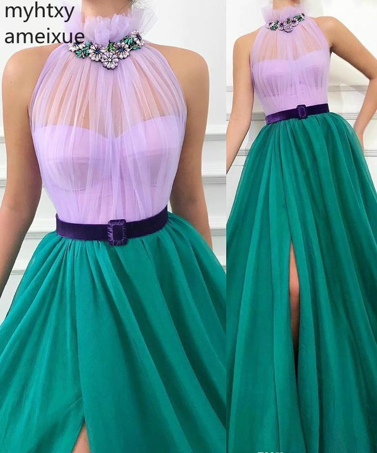 2019 New Arrival High Neck Greed And Purple Evening Dress Two Colors Women Wear Formal Party Prom Gown Custom Made Plus Size